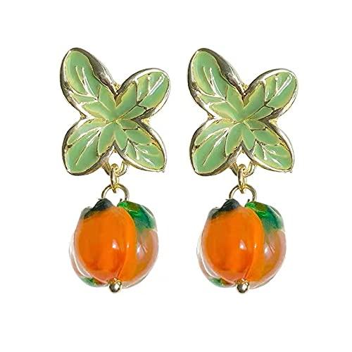 S925 Aguja de plata Caqui Caqui Ruyi Pendientes de personalidad retro Pendientes de hoja de vidrio transparente Pendientes de moda de niña naranja Clips de oreja