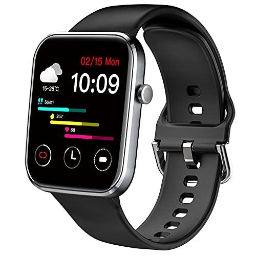 Ezanaki Smartwatch für Damen Herren, 1.69 Zoll Full Touchscreen Fitness Armbanduhr, IP67 Wasserdicht Sportuhr mit Pulsuhr, Schrittzähler, Uhr Schlafmonitor, Fitness Tracker für Android iOS Schwarz