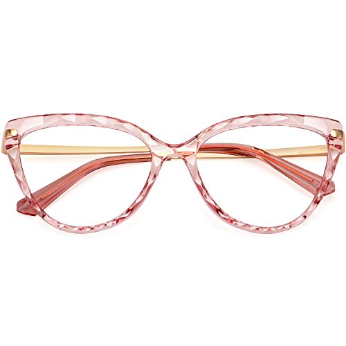 WOWSUN Crystal Cat Eye Glasses Frame for Women Non-Prescription Eyeglasses Eyewear Frame Clear Lens W5052
