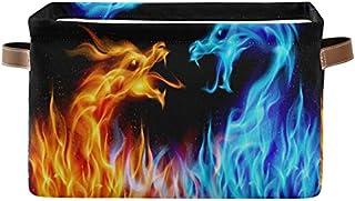 Doshine Panier de rangement pliable avec poignées Motif dragons ardents