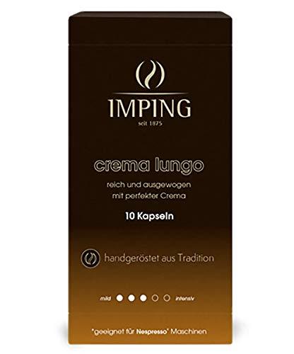 Crema Lungo Kapseln - 100 Crema Kaffeekapseln für Nespresso® - 10 x 10er Pack - Stärke 3/5 - 70% Arabica 30% Robusta - Crema Kaffee handgeröstet aus deutscher Traditionsrösterei