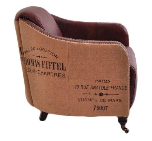Clubsessel Winchester Vintage Leder Jute Montaigne Brown rotbraun Echtleder Sessel