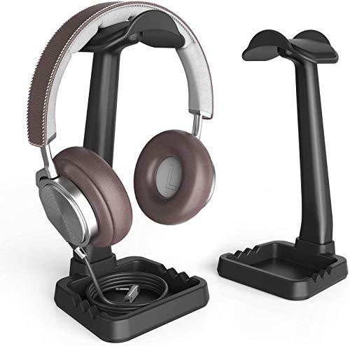 Klearlook Kopfhörer-Ständer, integrierter Kabel-Clip Organizer und Telefonhalter, hohe Stabilität/Mehrzweck-Headset-Halterung, für Gaming Headset, Desktop-Organisation, Kopfhörer-Display, Schwarz