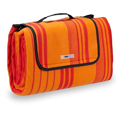Relaxdays Picknickdecke Fleece, wasserdichte Outdoordecke, wärmeisoliert, Tragegriff, XL 200x200cm, orange-rot gestreift