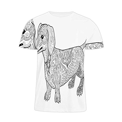 Hitecera Abstract Dachshund Doodle Coloring Book Page for Adult.- - France,Funn Humor T-Shirt Cotton T-Shirt for Men/Women Dachs