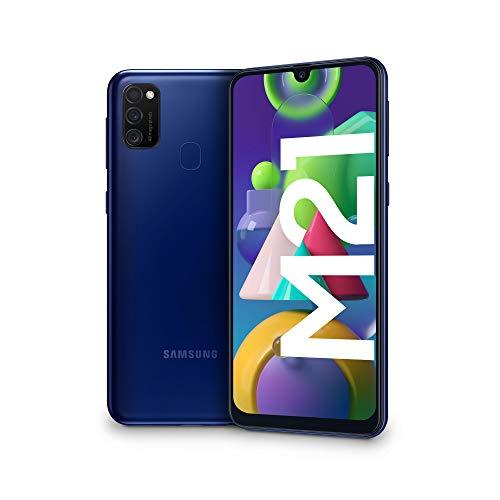 "Samsung Galaxy M21, Smartphone, Display 6.4"" Super AMOLED, 3 Fotocamere Posteriori, 64GB Espandibili, RAM 4 GB, Batteria 6000 mAh, 4G, Dual Sim, Android 10, 188 g, [Versione Italiana], Blue"