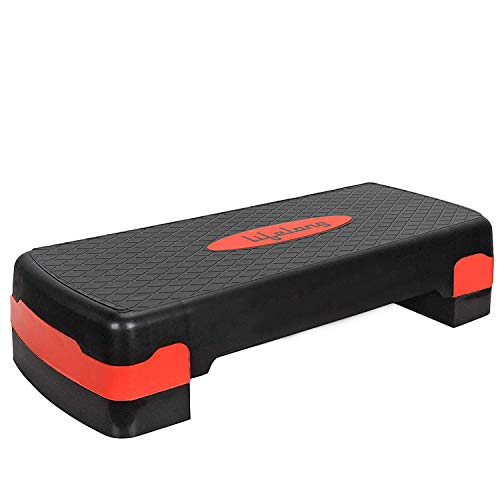Lifelong Polypropylene Adjustable Home Gym Exercise Fitness Stepper for Exercise Aerobics Stepper (Red & Black)