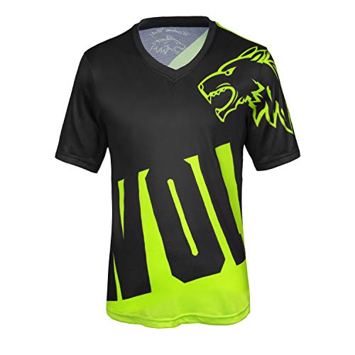 Wisdom Wolf Mens MTB Tops Bike Gym Sports Quick Dry Breathable Short Sleeve Mountain Bike Cycling Jerseys (Large, Black green)