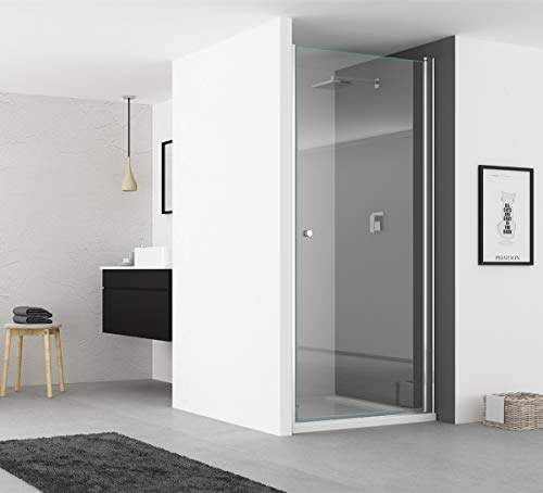 IMPTS Duschtür Pendeltür 80cm Duschkabine Nische Dusche Schwingtür Duschwand Glas 6mm ESG Sicherheitsglas 185cm
