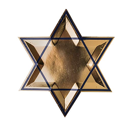 Jollity & Co Party Supplies | Gold Star of David Dinner Plates | Great for Hanukkah, Judaica Decorations, Tablescapes, and Holiday Gatherings | Paper, 8 Pack