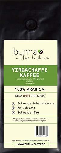 Bunna Coffee YIRGACHAFFE KAFFEE| Spezialitäten Kaffee aus Äthiopien | 100% Arabica |Bio Qualität | Frisch & schonend geröstet | Komplexe Aromen,1000g ganze Bohne)