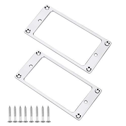 2 unids plata Humbucker pickup anillos de montaje con tornillos accesorios 92x45.5x2mm...