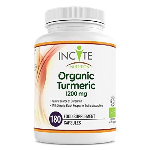 Organic Turmeric Curcumin 1200mg-180 Premium Capsules - 3 Months Supply - High Strength Quality Organic Turmeric Curcumin with Organic Black Pepper- Vegan - Made in The UK by Incite Nutrition