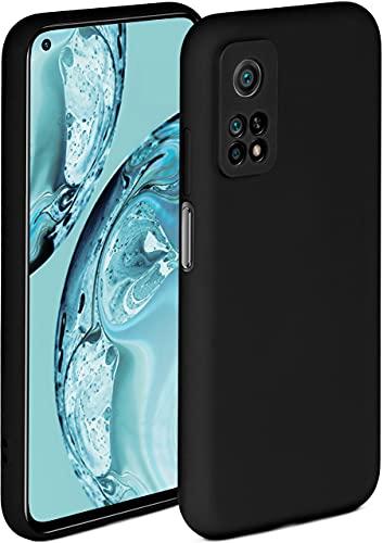 ONEFLOW Soft Hülle kompatibel mit Xiaomi Mi 10T / Mi 10T Pro Hülle aus Silikon, erhöhte Kante für Displayschutz, zweilagig, weiche Handyhülle - matt Schwarz