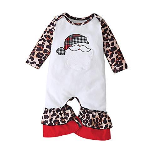 BQIU Weihnachten Strampler Overall Jungen MäDchen Leopard Strampler Herbst/Schneeanzug Stiefel geschnittene Hose Winter WäRmer Schneeanzug