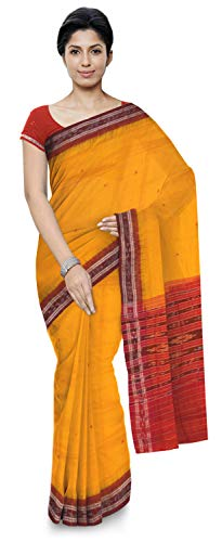 ODISHA HANDLOOM Women's Sambalpuri Cotton & Silk Saree Without Blouse Piece (o 37_Yellow)