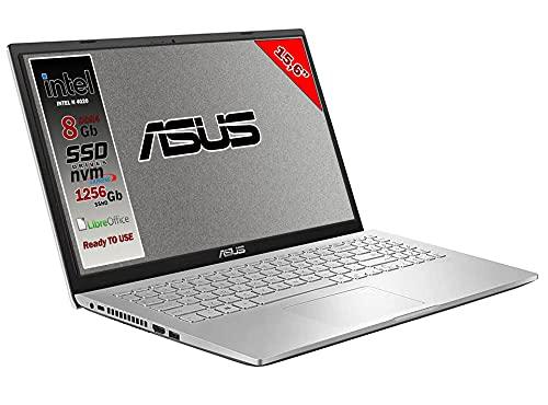 Asus Vivobook notebook, Ssd M.2 da 256Gb, Cpu Intel N4020 fino a 2.6Ghz, 8Gb ddr4, Display da 15,6 hd, wi-fi, 3 Usb, Bt, Win 10 pro, Pronto All'uso Gar. Italia