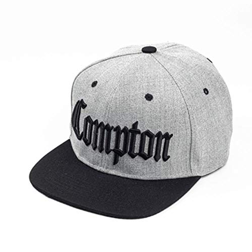 UKKD Baseball Cap Herren Stickerei-Baseballmütze Hip Hop Hysteresenkappen Flache Art Und Weise Sport-Hut Für Unisexjustierbares Vater Hüte,Grau Compton