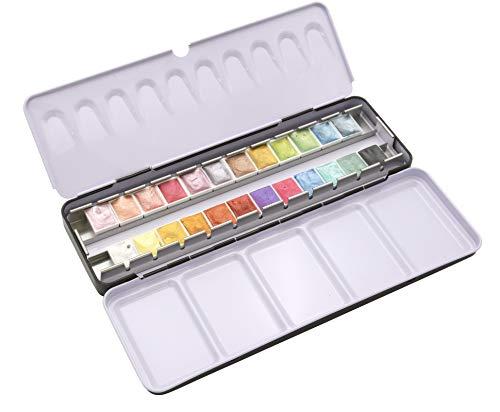 Paintersisters Artist 24er Metallic Aquarell Farbset in halben Näpfen, hochwertige Aquarelle im Malkasten, Profi-Farbsets