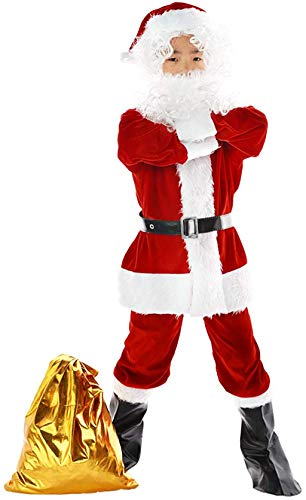 Children's Santa Claus Costume Kids Complete Santa Suit Boys Christmas Cosplay Party Red Deluxe Velvet Costume