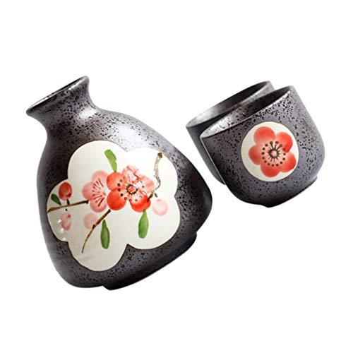 Angoily Juego de Sake Japonés de Cerámica Sake de Ciruelos Sake Taza de Porcelana Cerámica Vino Taza de Té Sake para El Hogar Fiesta Regalo 200Ml