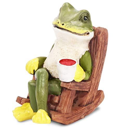Gartenfigur Deko (1x) - H5,5cm Grüne Froschfigur Gartendeko Lachende Frosch Figuren – Dekofigur Teichdeko Gartenfiguren Tierfiguren Frösche Gartenzwerge für Außen, Garten, Wohnaccessoire, Dekoration