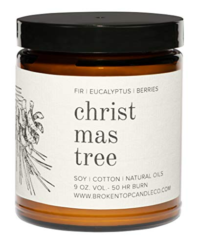 Broken Top - Christmas Tree|9 oz. Fir, Eucalyptus & Berries. Pure Soy Wax Candle. 50-Hour Burn Time. Natural Cotton Wick, Vegan, No Parabens, No Phthalates