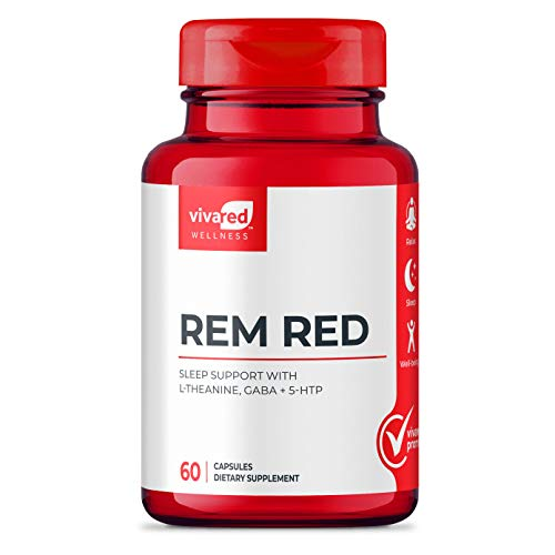 VivaRed Rem Red Sleep Aid, Sleep and Stress Supplements with 2 Milligrams of Melatonin, Calm Sleep Aids for Adults