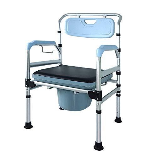 Froadp - Sedia WC mobile con telaio sicuro, regolabile in altezza, con schienale e sedile WC antiscivolo