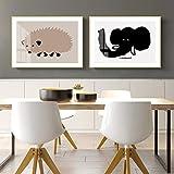 N / A Animal Commune littérature Nordique et Art rétro Toile décorative peintures Chambre d'enfants Chambre Chevet peintures murales-50x70cm * 2 Rouleau Toile