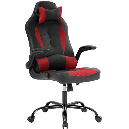 Gaming Chair Ergonomic High-Back Racing Style Office Chair Adjustable Headrest Lumbar Support Executive Computer Chair, PU Leather Swivel Desk Chair(red) black chair gaming