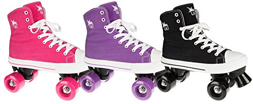Rookie Quad-Rollerskates, Canvas, hoch geschnitten (Hi-Top) Rosa Rose 3 UK