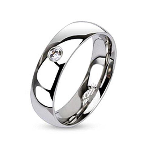 Paula & Fritz® Ring aus Edelstahl Chirurgenstahl 316L Klassischer Bandring 6mm breit mit einzelnem Zirkonia 57 (18)