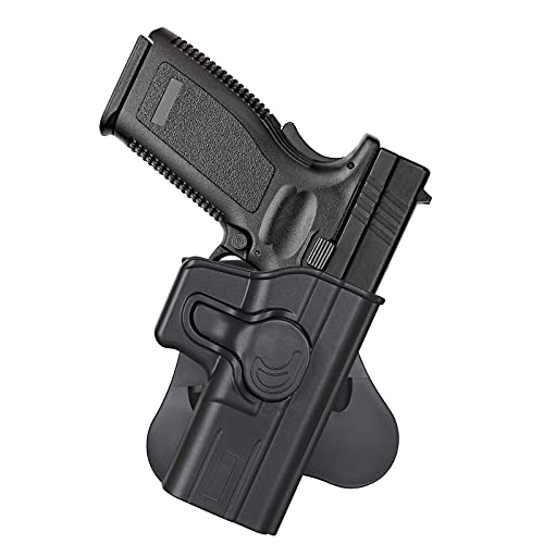 cavebear OWB Gun Holster for 5'' Barrel Springfield XD 9MM/357/45/40 Tactical Models, Paddle Holster Outside The Waistband, 360° Adjustable Tactical Polymer Belts Holsters - Right Hand