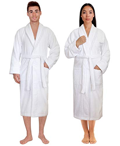 Cotton Paradise Premium & Luxury Shawl Collar Plush, Soft, Decorative & Absorbent 100% Turkish Genuine Cotton Men's & Women's Bathrobe