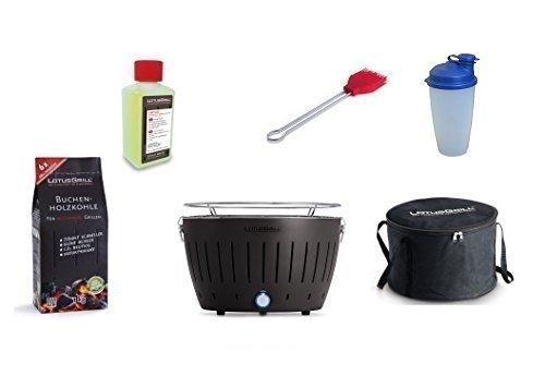 LotusGrill Barbecue Kit de démarrage 1x Lotus Barbecue Charbon de Bois de hêtre Gris Anthracite 1x 1kg, 1x Pâte Combustible 200ml, 1x Pinceau Feu Rouge, 1x Shaker à Vinaigrette, 1x Sac de Transport