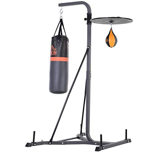 HOMCOM Freestanding Boxing Punch Bag & Speed Ball Station Hanging Frame Training Exercise Platform Home Gym Heavy Duty