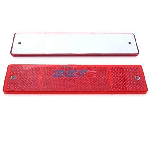 227s - 2 grands catadioptres rectangulaires à vis - agréé ECE - remorque/caravane - rouge - 173 x 40 mm