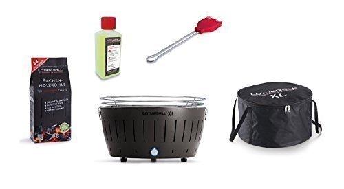 LotusGrill XL KIT DE DÉMARRAGE LOT 1 Gris Anthracite 1 charbon bois hêtre 1kg, 1 brûleure à pâte 200ml, 1xmarinierpinsel rouge vif, 1 sac transport - Le raucharme Barbecue à / Gril table dans
