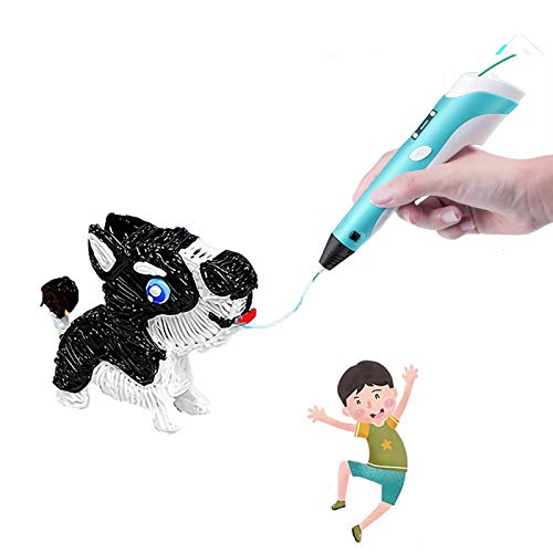 JDYDDSK 3D Printing Pen with Display - Includes 3D Pen, 5 meters PLA Filament, Copy painting + Paper card, and Pen Holder, Toys Gift for Kids Birthday Christmas,Blue