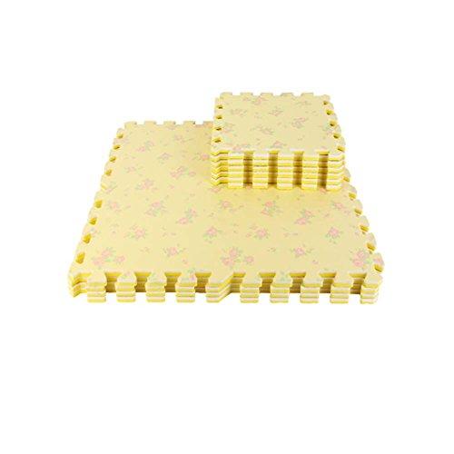 16 piezas de colchonetas de espuma impermeables para niños alfombrillas de juego de rompecabezas de espuma de bebé, flor beige