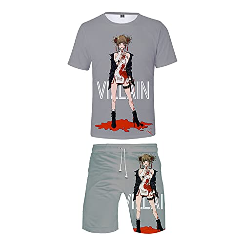 EDMKO My Hero Academia Mujeres Verano Conjunto Deportivo Top Y Pantalones Cortos 2 Piezas Trajes Himiko Toga Manga Corta De Divertidas Shirts Disfraz De Cosplay,Gris,M
