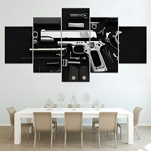 SFXYJ 5 Piezas de Arte de Pared - Impresión Lienzo Pintura - Arte de Pared - Póster Fondos de Pantalla de Armas de Fuego y Armas - HD Escena Pared Arte Pintura,A,40×60×2+40×80x2+40×100×1