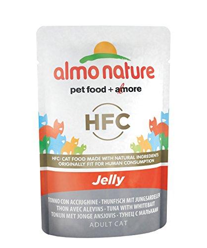 Almo Nature HFC, Cibo umido per gatti, Jelly Tonno Con Acciughe, Confezione da 24 x 55 g
