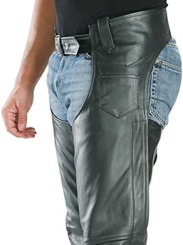 Xelement 7554 Men's Black Advanced Dual Comfort Leather Chaps - 38-38