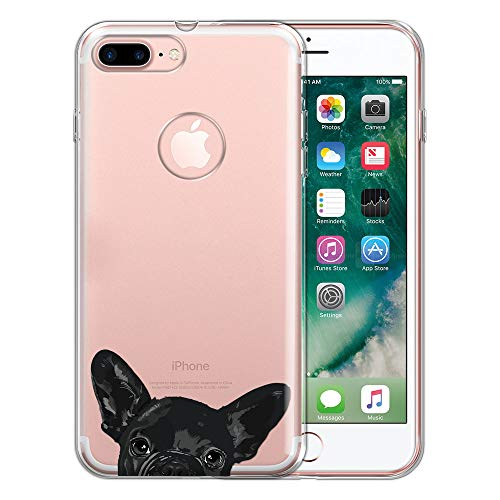 FINCIBO Case Compatible with Apple iPhone 7 Plus/ 8 Plus, Clear Transparent TPU Silicone Protector Cover Soft Gel Skin for iPhone 7 Plus / 8 Plus (NOT FIT iPhone 7/8) - French Bulldog Puppy Dog Black