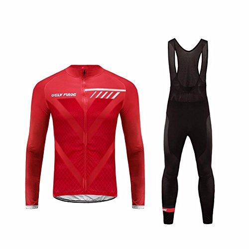 UGLY FROG HIWLJ16 Magliette Completo Ciclismo Invernale Manica Lunga Cycling Magliette+Lunga Pantaloni da Ciclismo Body Triathlon Uomo