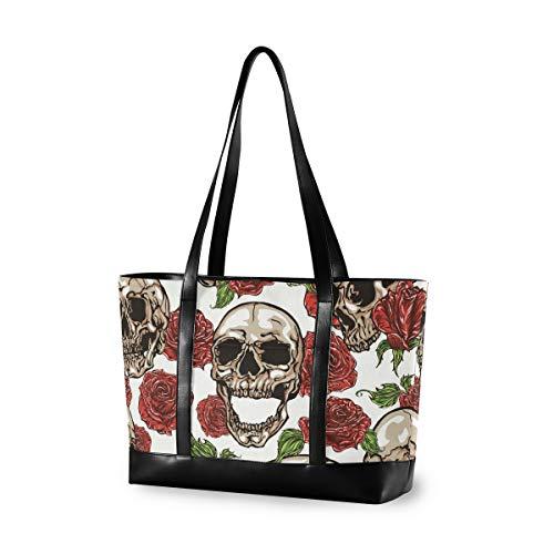 Bolso de mano Calaveras de moda de gran capacidad con flor Rosa Bolsa