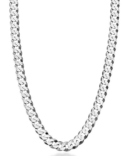 MiaBella Solid 925 Sterling Silver Italian 7mm Diamond Cut Cuban Link Curb Chain Necklace for Men Women, 16, 18, 20, 22, 24, 26, 30 Inch (16 Inches)
