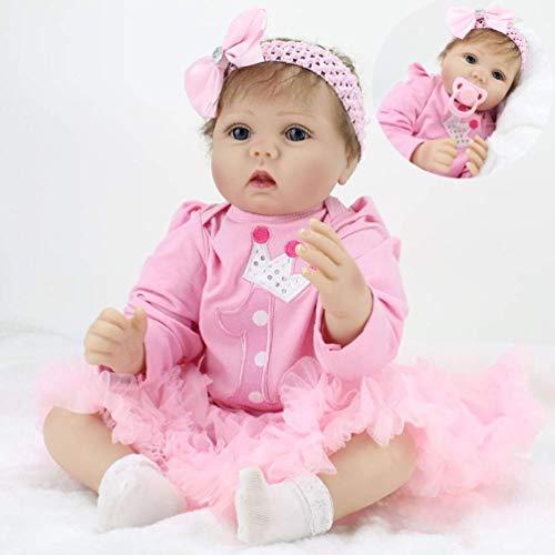 ZIYIUI Bambole Bambino 22 Pollici 55cm Reborn Baby Doll Simulazione Silicone Realistico Bambola Ragazza con Occhi Aperti Bambole Reborn Giocattolo